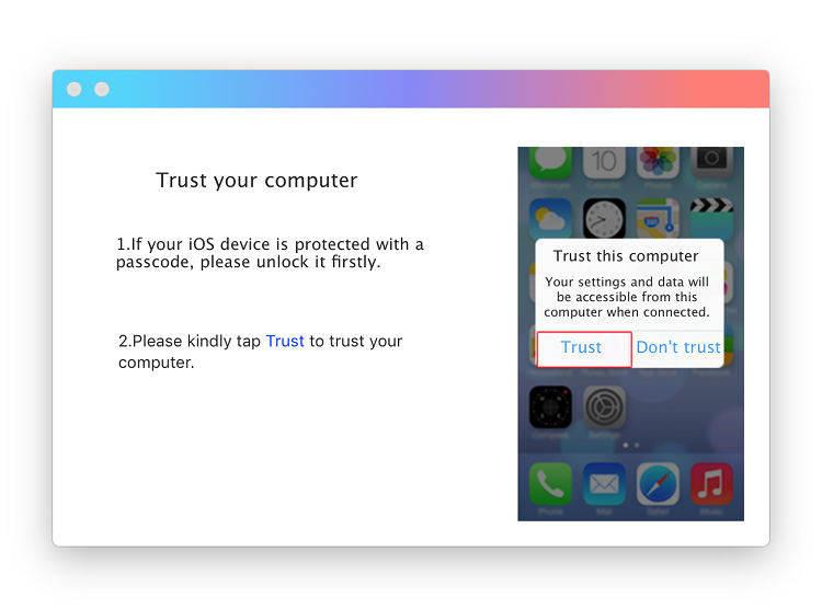 руководство исправить проблемы с синхронизацией iTunes на Mac.Шаг 1 доверять компьютеру