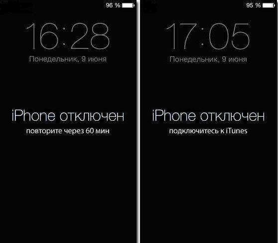 iPhone отключен