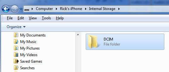 Папка DCIM на ПК для синхронизация фото с айфона